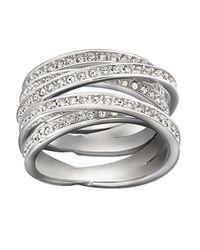 Swarovski - Metallic Spiral Crystal Ring - Lyst