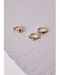 Missguided | Metallic Chain Detail Ring Set Gold | Lyst