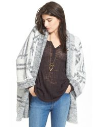 Free People | White Windowpane Plaid Knitted Jacket | Lyst