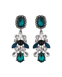 Mikey - Green Drop Side Bow Crystals Earring - Lyst