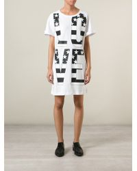 Love Moschino - White Oversized Love Print T-shirt Dress - Lyst