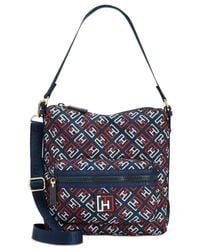 Tommy Hilfiger | Blue Training Plus Solid Nylon Small Convertible Hobo | Lyst