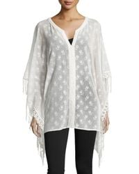 Max Studio - White Sheer Floral Poncho With Fringe - Lyst
