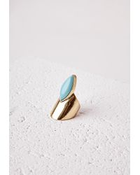 Missguided - Blue Abstract Stone Detail Ring Turquoise - Lyst