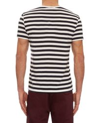 Burberry Brit - Blue Striped Cotton T-shirt for Men - Lyst