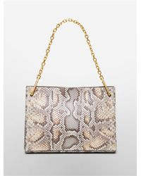 Calvin Klein - Natural Collection Python Medium Shoulder Bag With Chain Strap - Lyst