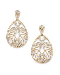 Adriana Orsini - Metallic Pave Crystal Floral Filigree Teardrop Earrings - Lyst