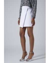 TOPSHOP - White Clean Wrap Scuba Skirt - Lyst
