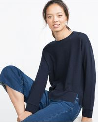 Zara | Blue Plush Top | Lyst
