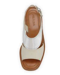 Prada - Metallic Lowheel Sandal - Lyst