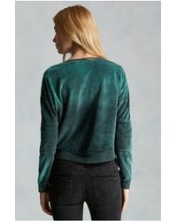 True Religion | Green Moto Zip Velour Womens Sweatshirt | Lyst