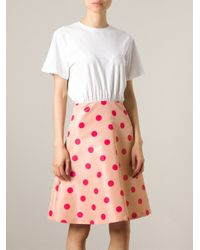 RED Valentino - White Combo Flared Dress - Lyst