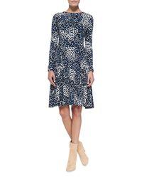Melissa Masse - Multicolor Leopard-Print Long-Sleeve Jersey Dress - Lyst