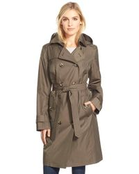 London Fog Brown Long Double Breasted Trench Coat