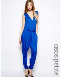 ASOS | Blue Exclusive Jumpsuit With Wrap Front | Lyst