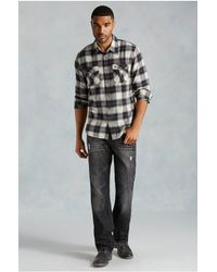 True Religion | Black Zip Plaid Western Mens Shirt for Men | Lyst