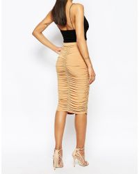 Club L | Natural Ruched Midi Skirt | Lyst