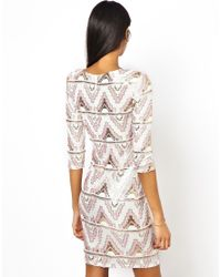 TFNC London | White Bodycon Mini Dress With Aztec Sequins | Lyst