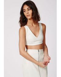 Missguided - Snake Embossed Faux Leather Bralet White - Lyst