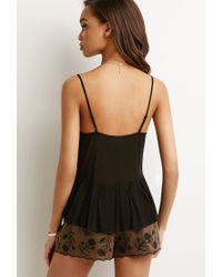Forever 21 | Black Embroidered Crepe Cami | Lyst