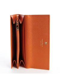 Ferragamo - Calendula Orange Textured Leather Double Gancio Wallet - Lyst