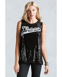 True Religion | Black True Sequin Womens Tank | Lyst