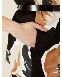 Max Mara Studio - Black Giunto Long Sleeved Floral Print Dress Coat - Lyst