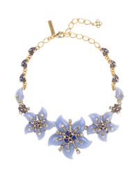 Oscar de la Renta | Metallic Periwinkle Resin Flower Necklace | Lyst