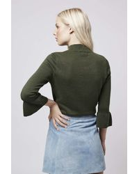 TOPSHOP   Natural Fluted Cuff Top   Lyst