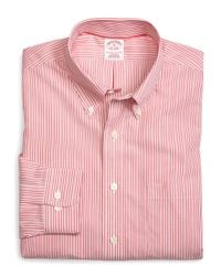 Brooks Brothers | Pink Supima® Cotton Non-iron Regular Fit Triple Stripe Sport Shirt for Men | Lyst