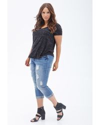Forever 21 - Blue Distressed Cropped Jeans - Lyst