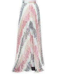 Alice + Olivia - Multicolor Wide-leg Pleated Sheer Pants - Lyst
