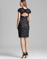 ML Monique Lhuillier - Natural Lace Dress Cap Sleeve - Lyst