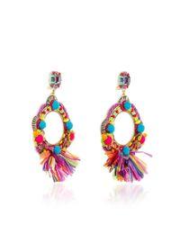 Ranjana Khan - Blue Fringe Embellished Circle Earrings - Lyst
