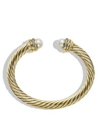 David Yurman | Metallic Crossover Bracelet with Pearls and Diamonds in Gold | Lyst