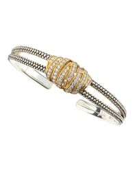 Lagos - Metallic Embrace Thin Diamond Bangle - Lyst