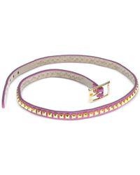 Guess - Metallic Gold-Tone Pink Faux Leather Stud Wrap Bracelet - Lyst