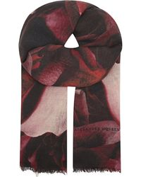 Alexander McQueen | Red Rose Degarde Silk-wool Scarf | Lyst
