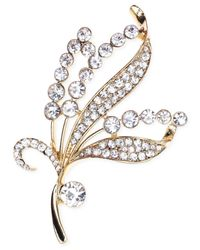 Jones New York | Metallic Gold-tone Crystal Leaf Pin | Lyst