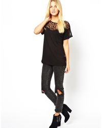 French Connection - Black Mesh Mix T-Shirt - Lyst