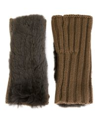 Yves Salomon - Natural Ribbed Fingerless Gloves - Lyst