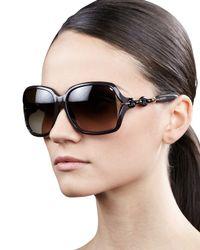 Gucci - Black Open-temple Square Sunglasses - Lyst