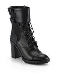 Tory Burch | Black Broome Leather Mid-Calf Boots | Lyst
