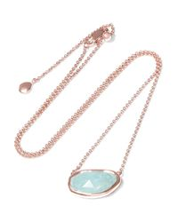 Monica Vinader | Blue Capri Rose Gold-plated Aquamarine Necklace | Lyst