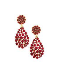 Oscar de la Renta - Red Crystal Teardrop Clip-on Earrings - Lyst