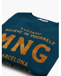 Mango | Blue Printed Velvet Message Sweatshirt | Lyst