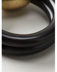 Monies   Black Metallic Ball Detail Bangle   Lyst