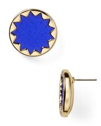 House of Harlow 1960 - Blue Sunburst Leather Button Earrings - Lyst