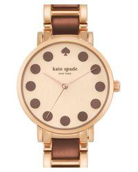 kate spade new york - Brown 'gramercy' Dot Dial Bracelet Watch - Lyst