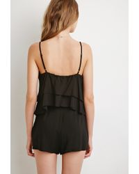 Forever 21 - Black Layered Flounce Romper - Lyst
